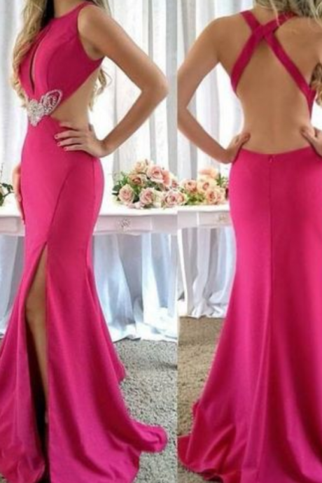 Fuchsia evening dress Backless Prom Dresses Jewel Sleeves Mermaid ball gowns Beach Bohemian Satin Evening Dress