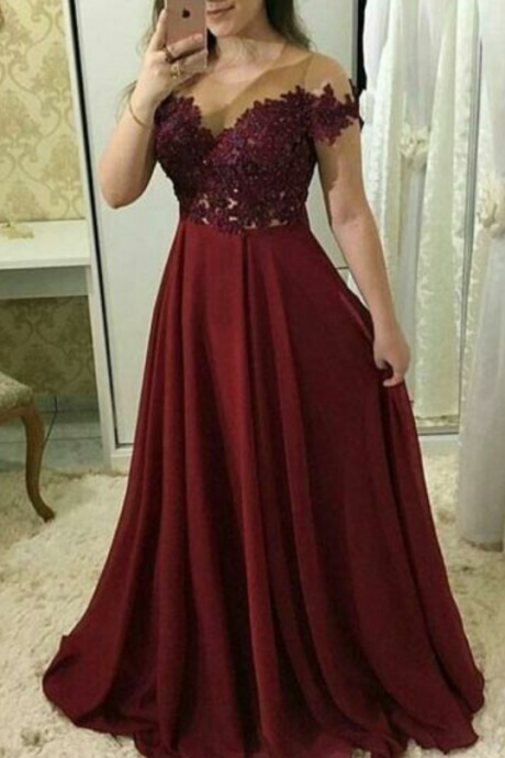 Scoop Short Sleeve Prom Dresses,Burgundy Prom Dress,Lace Chiffon Evening Dresses