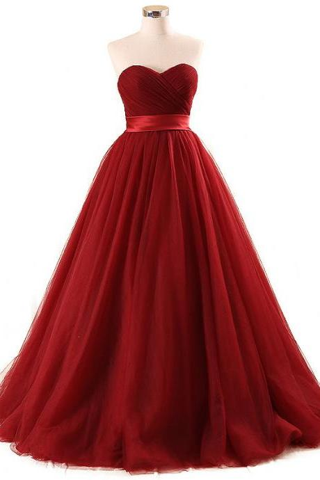 Burgundy Tulle Prom Dresses, Featuring Sweetheart Neckline Formal Dress,Satin Evening Dress