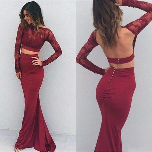 Burgundy Sexy Prom Dresses,Two Pieces Prom Dresses,Backless Prom Dresses,Long Sleeves Prom Dresses,Classy Prom Gowns