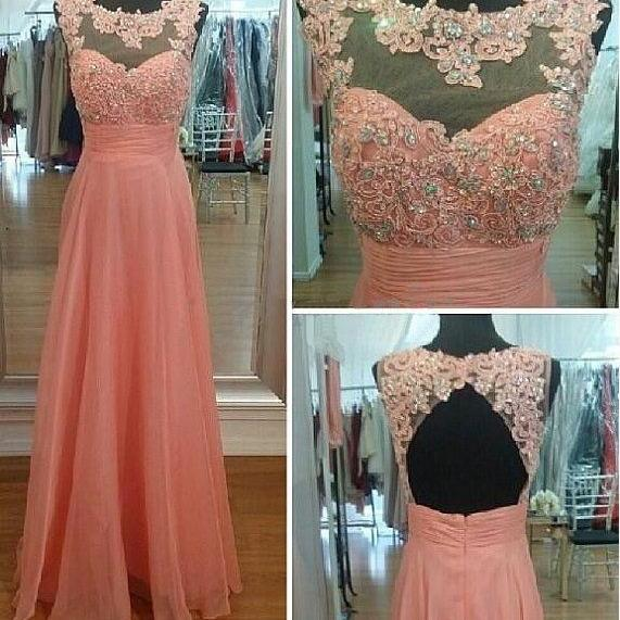 Blush Pink Prom Dresses,Chiffon Backless Prom Dress,A Line Prom Dress,Long Prom Gown With Lace