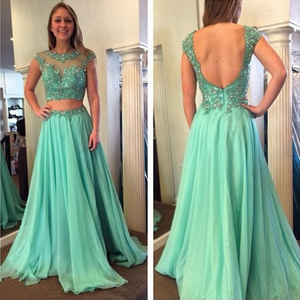 High Neck Cap Sleeve Long Chiffon Prom Dress Applique A Line Evening Dresses