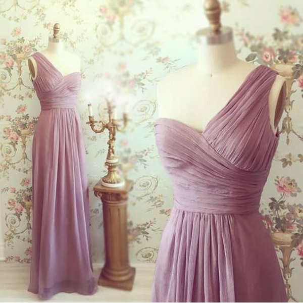 One Shoulder Long Chiffon Prom Dress Bridesmaid Dresses