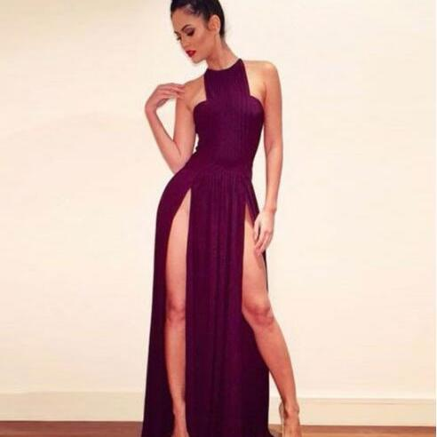 Burgundy Long Prom Dress,Aline Chiffon Prom Dress,Boat Neck Evening Dress,Sleeveless Party Gowns,Slits Prom Dresses