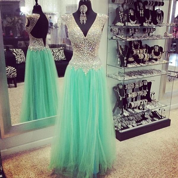 Backless Sleeveless Prom Dress,Long Green Prom Dresses