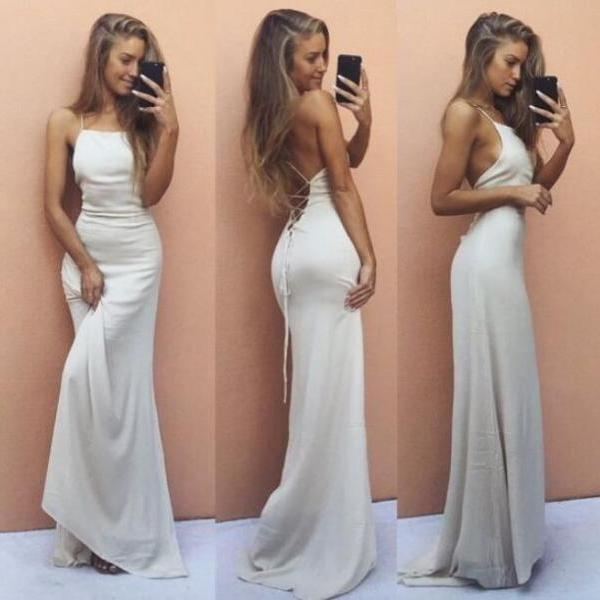 Tie up Halter Ivory Prom Dress ,Sheath Party Dress with Unique Design,Sexy Beach Dress,Maxi Dress