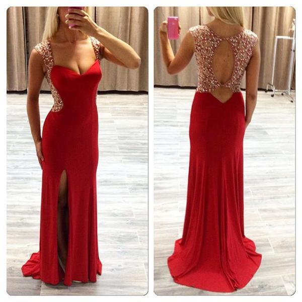 Floor Length Sexy Prom Dress,Red Prom Dresses