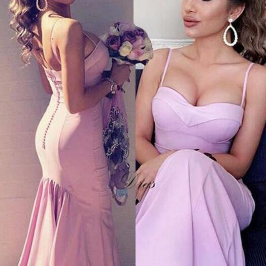 Pink Sweetheart Straps Prom Dress,Long Prom Dresses