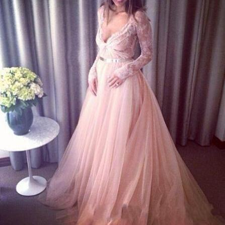 Champagne Prom Dress , Long Lace Sleeves Prom Dresses , Sexy Deep V Neck Prom Dress , Lace Evening Dress , Gold Sashes Princess A-Line Long