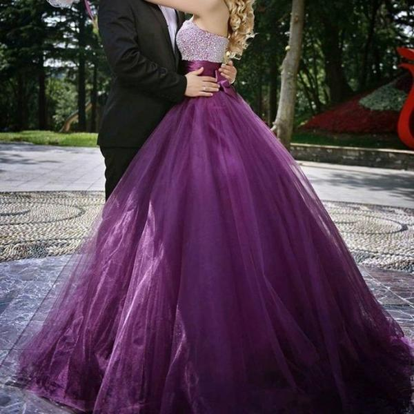 Purple Prom Dresses ,Shiny Beading Top Prom Dress , Elegant Bow on Back Prom Dress , Sweetheart Floor Length Long Prom Gown , Fee Custom Made