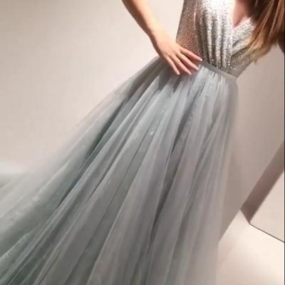 Charming Prom Dresses,Tulle Prom Dress,A-Line Prom Dress,Beading Prom Dress
