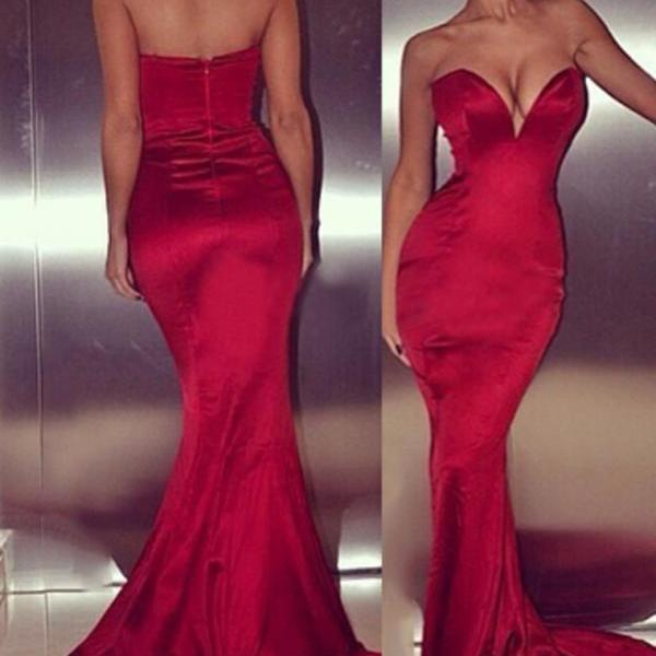 Red Mermaid Evening Dresses, Cocktail Dresses, Discount Party Dresses, Sexy Deep V Prom Dresses