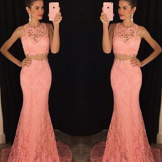 Lace Two-Piece Formal Dress Featuring Crew Neck Sleeveless Crop Top and Floor Length Trumpet Skirt, Prom Dress
