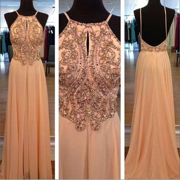 Light Peach Beaded Long Prom Dresses, Custom Backless Evening Gowns ...
