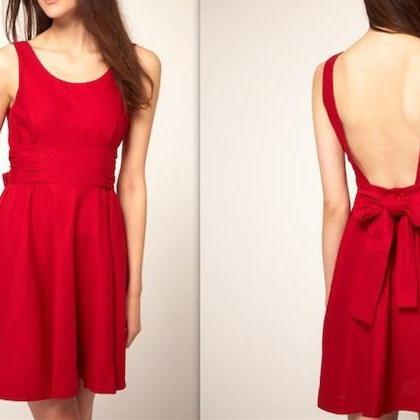 Charming Homecoming Dresses,Red Prom Dress,Elegant Backless Homecoming Dress