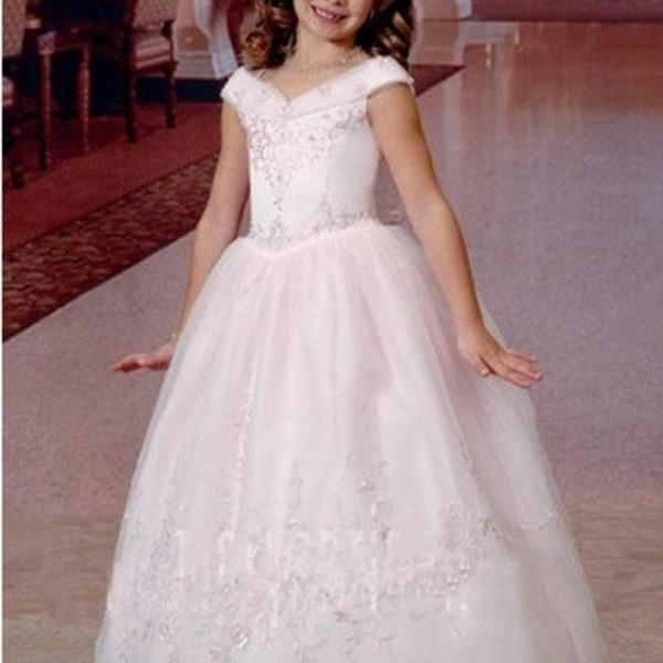 White/Ivory Girl First Communion Dresses Kids Flower Girl Dress V-Neck Lace-up Full-length Ball Gowns First Communion Dress for Girls