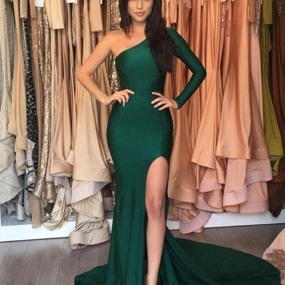 One Sleeve Prom Dress,Mermaid Prom Dress,Fashion Prom Dress,Sexy Party Dress,Custom Made Evening Dress