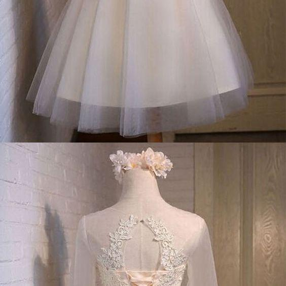 Glamorous A-line homecoming dress, Scoop Above-knee homecoming dresses, Ivory Organza homecoming dress, Half Sleeves, With Appliques, homecoming dresses