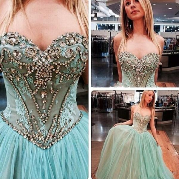 Light Blue Prom Dresses,Tulle Prom Dress,Lace Prom Gown,Beaded Prom Dresses,Evening Gowns,New Evening Dresses