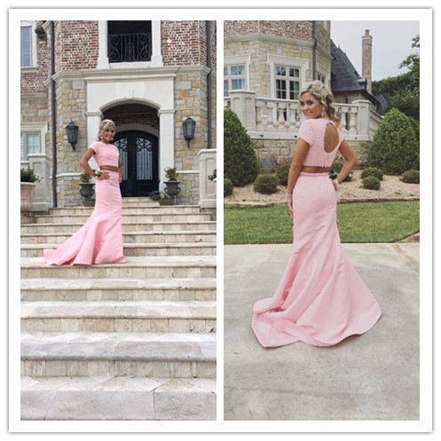 Pink Prom Dresses,2 pieces Prom Gowns,Pink Prom Dresses,Long Prom Gown,Prom Dress,Sparkle Evening Gown,Sparkly Party Gown