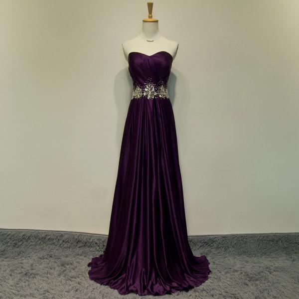 Dark Purple Satin Sweetheart Floor Length A-Line Formal Dress Featuring Beaded Embellished Waist, Prom Dress