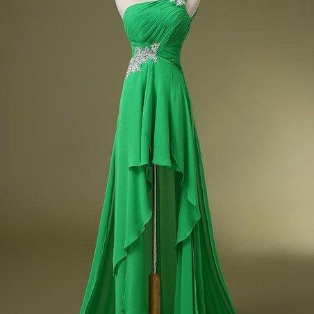 Charming Prom Dress,One Shoulder Prom Dress,Chiffon Prom Dress