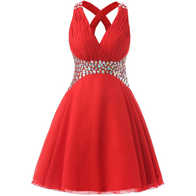 Charming Homecoming Dress,V Neck Prom Dresses,Beading Homecoming Dresses