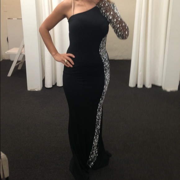 Black Prom Dresses,One Shoulder Prom Dress,Chiffon Prom Dress,Long Prom Dresses,Black Formal Dresses