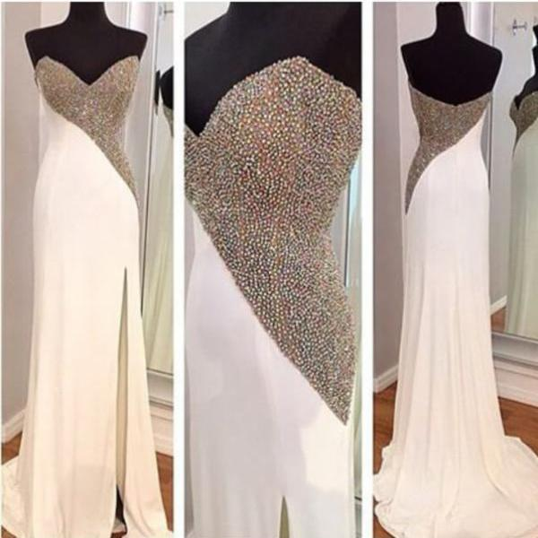 Sweetheart Asymmetrically Beaded Mermaid Long Prom Dress, Evening Dress
