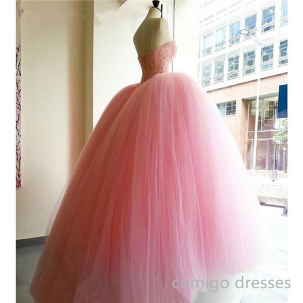Pink Prom Dress,Ball Gown Prom Dress,Princess Prom Gown,Beaded Prom Dresses,Sexy Evening Gowns,New Fashion Evening Gown,Sexy Baby Pink Graduation Dress For Teens