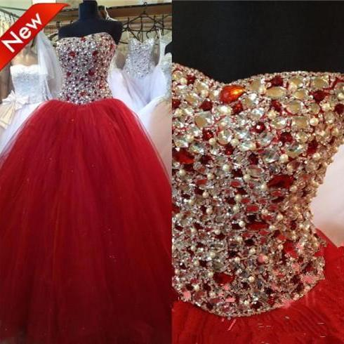 Red Prom Dress,Ball Gown Prom Dress,Princess Prom Gown,Beaded Prom Dresses,Sexy Evening Gowns,New Fashion Evening Gown,Sexy Graduation Dress For Teens
