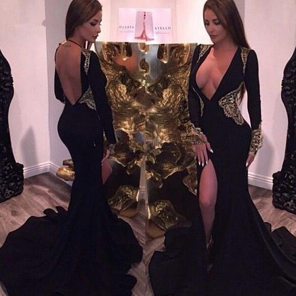 Black Prom Dresses,Mermaid Prom Dress,Prom Dress,Prom Dresses,Formal Gown,Long Sleeves Evening Gowns,Party Dress,Prom Gown For Teens