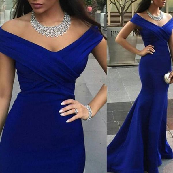 Backless Prom Gown, Prom Dresses,Royal Blue Evening Gowns,Party Dresses,Mermaid Evening Gowns,Formal Dress For Teens