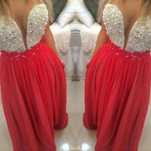 Red Prom Dresses,Charming Evening Dress,Coral Prom Gowns,Lace Prom Dresses,New Prom Gowns,Red Evening Gown,Backless Party Dresses