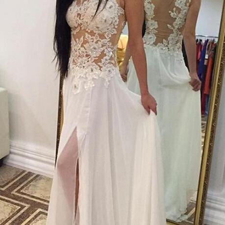 White Wedding Dresses,Backless Wedding Gown,Lace Wedding Gowns,Slit Bridal Dress,Princess Wedding Dress,Beautiful Brides Dress,Chiffon Wedding Gowns For Spring Summer