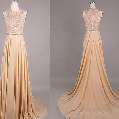 Beading Prom Dresses,Champagne Prom Dress,Prom Gown,Chiffon Prom Dresses,Evening Gowns,Sexy Formal Gown For Teens Girls