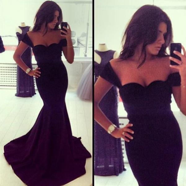 Black Prom Dress,Mermaid Prom Dresses,Simple Prom Gown,Sweetheart Prom Dresses,Sexy Evening Gowns,Evening Gown,Cap Sleeves Formal Dress For Teens