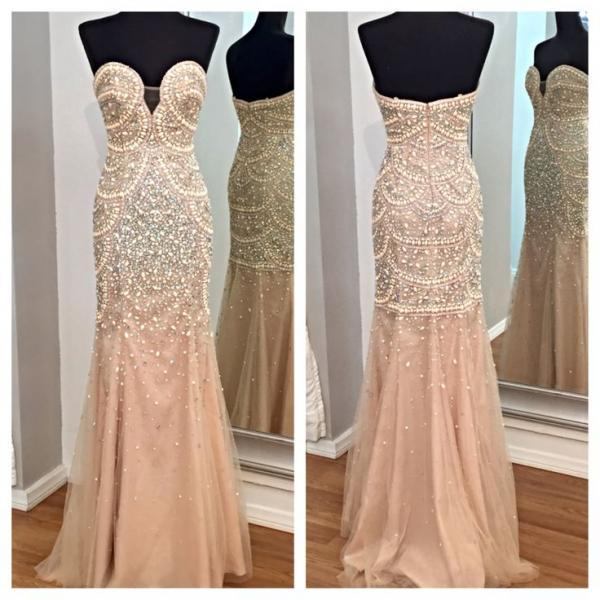 Champagne Prom Dresses,Mermaid Prom Gowns,Tulle Prom Dresses,Beading Prom Dresses,Mermaid Prom Gown,Prom Dress,Evening Gonw With Silver Beading For Teens