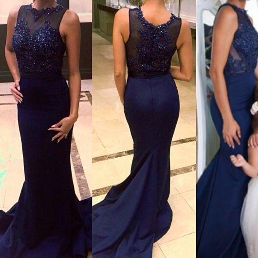 Lace Prom Gown,Mermaid Prom Dresses,Royal Blue Evening Gowns,Lace Party Dresses,Beaded Evening Gowns,Chiffon Formal Dress For Teens