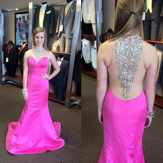 Prom Gown,Pink Prom Dresses,High Neckline Evening Gowns,Mermaid Formal Dresses,Pink Prom Dresses,Taffeta Evening Gowns,Backless Prom Gown