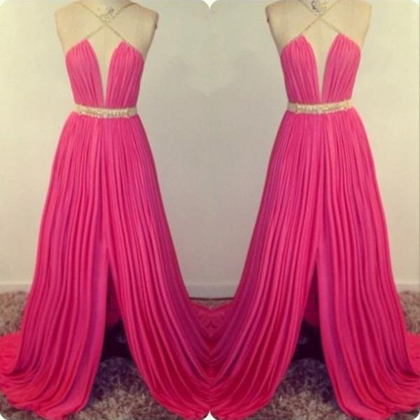 Hot Pink Prom Dresses,Open Back Prom Gowns,Backless Prom Dresses,Party Dresses,Long Prom Gown,Open Backs Prom Dress,Slit Evening Gowns,Split Formal Gown