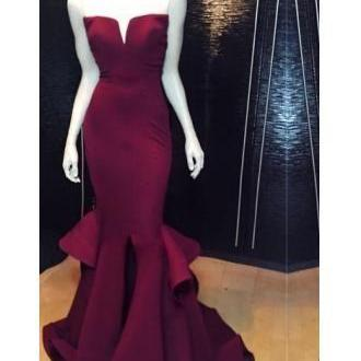 Burgundy Prom Dresses,Mermaid Prom Dress,Satin Prom Dress,Strapless Prom Dresses,Formal Gown,Corset Evening Gowns,Wine Red Party Dress,Mermaid Prom Gown For Teens