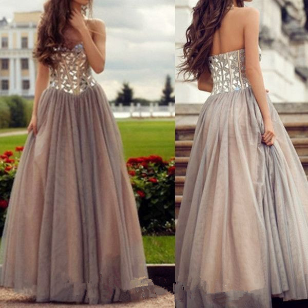 Tulle Prom Dresses,Champagne Prom Dress,Modest Prom Gown,Ball Gown Prom Gowns,Beading Evening Dress,Strapless Evening Gowns,Sparkly Party Gowns,Crystals Prom Gown