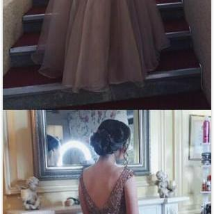 Bateau Cap Sleeves Prom Dress,Charming A-Line Prom Dress,Sexy Prom Dress,Beading Prom Dress,Sexy Tulle Evening Dress,Long Prom/Evening Dress With Beading