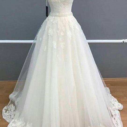 Elegant A-Line Weding Dress,Lace Wedding Dress,V-Neck Bridal Dresses,Sleeveless White Wedding Dress,Long Wedding Dress With Lace