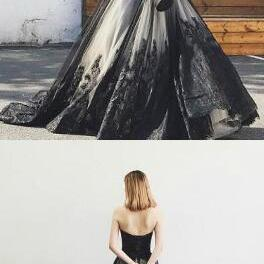 Charming Prom Dress,Sexy Mermaid Prom Dress,Cheap Prom Dresses,A-Line Sweetheart Black Long Prom Dress With Lace Beading