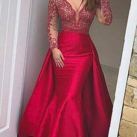 Long Sleeves Prom Dress,Mermaid Evening Dresses ,Beaded Prom Dress,V Neck Formal Gowns ,Red Satin Prom Dresses ,Sexy Party Pageant Graduation Dresses