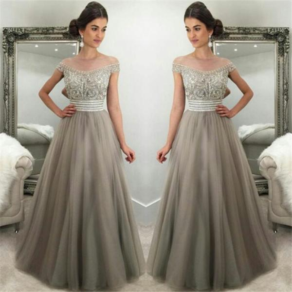 Off The Shoulder Prom Dress,Crystals Prom Dresses,Silver Grey Prom Dress,Tulle Gorgeous Evening Gown