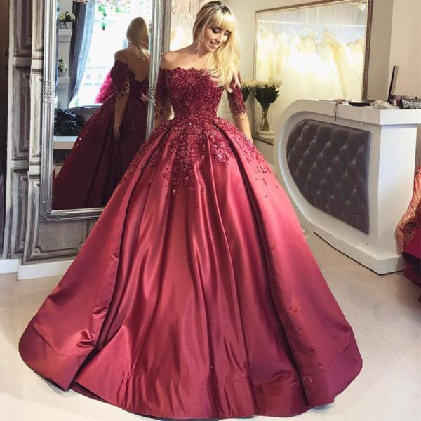 Burgundy Ball Appliques Prom Dress,Crystal Off-the-Shoulder Prom Dress,Long-Sleeves Prom Dresses
