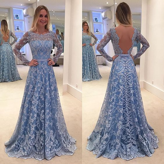 Charming lace prom dress,long sleeves prom dress,sexy open back evening dress,custom